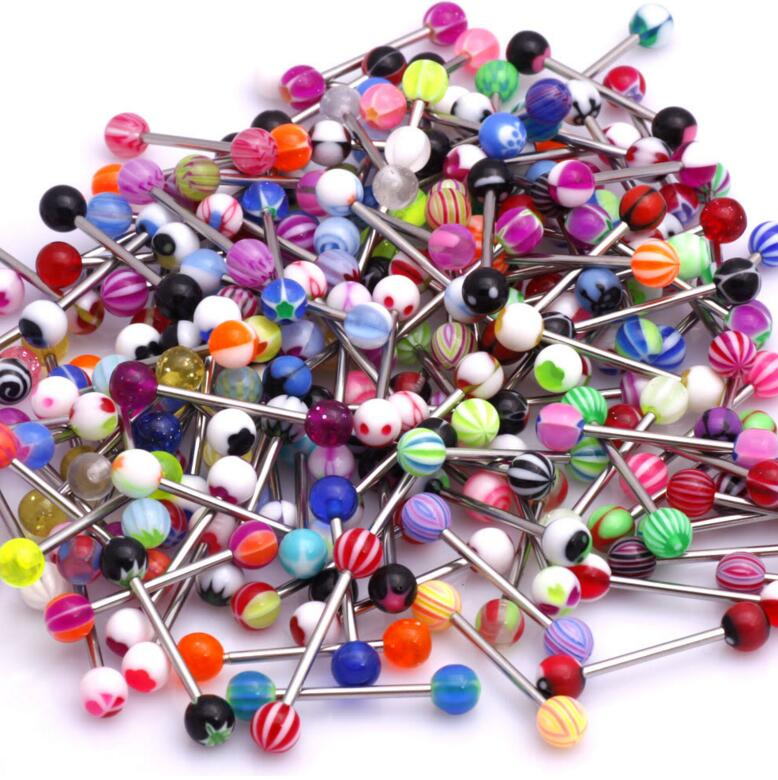 wholesale Mixed lot 10/100 pcs/lot new arrival body jewelry tongue piercings piercing tongue stainless tongue rings barbells