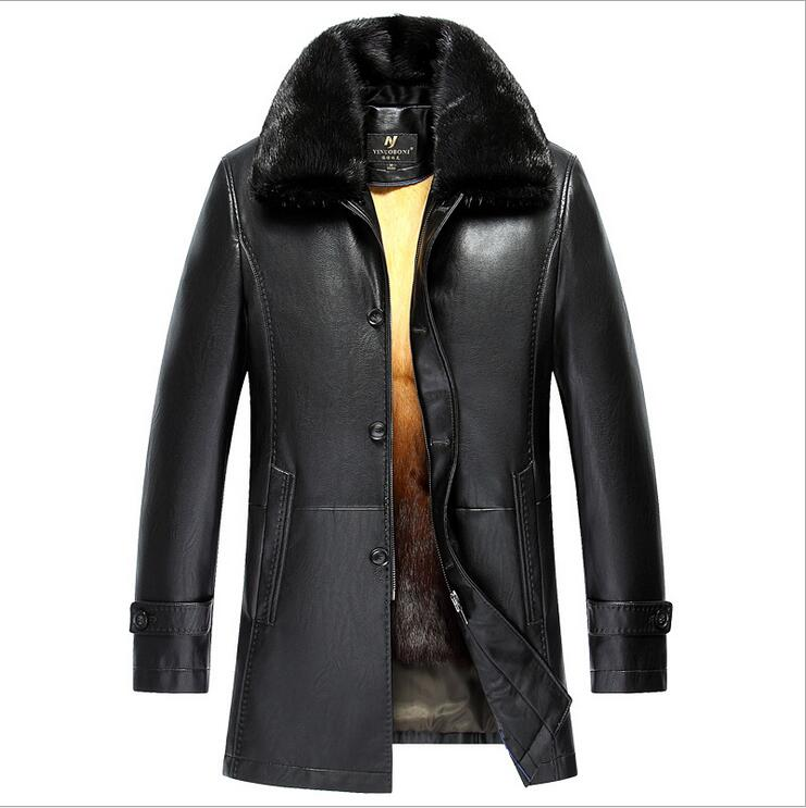 New Winter Men Genuine Leather Coat Long Men's Leather Jacket Mink fur collar gold rex rabbit hair Lining EMS free shipping