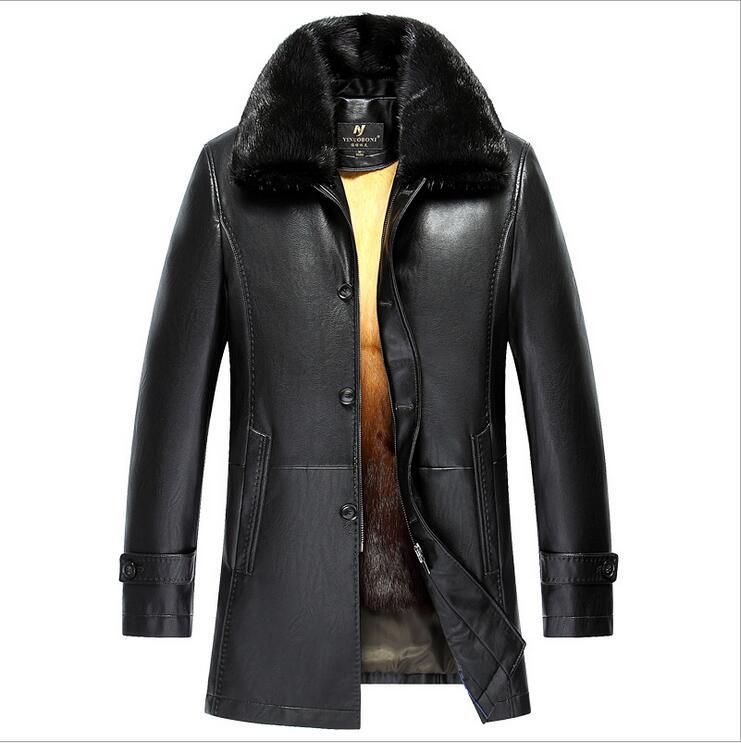 New Winter Men Genuine Leather Coat Long Men's Leather Jacket Mink fur collar gold rex rabbit hair Lining EMS free shipping