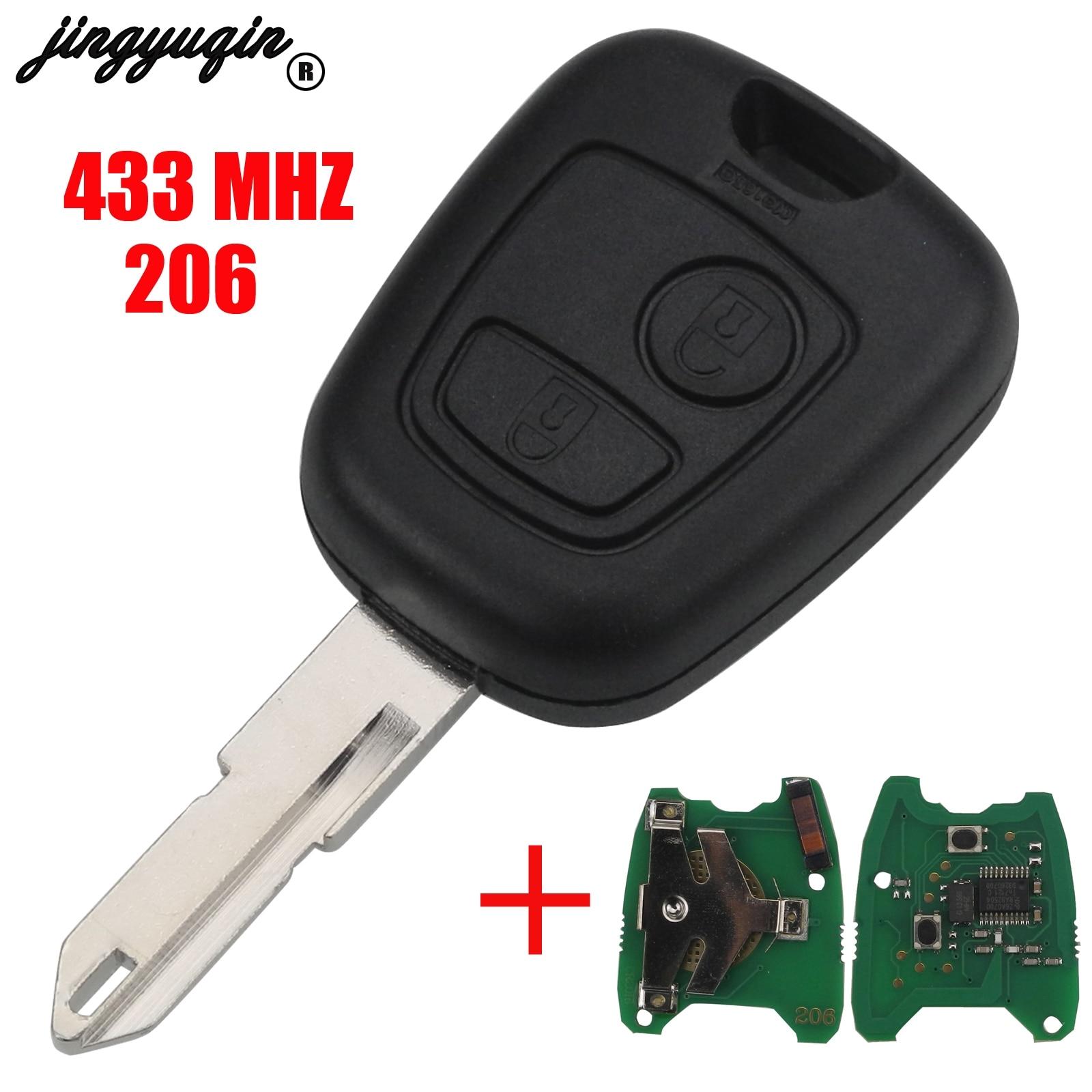 Jingyuqin 2 Botões PEDIR NE73 Lâmina Chave Remota Fob Shell Controlador Apto Para PEUGEOT 206 433MHZ Com PCF7961 Transponder chip