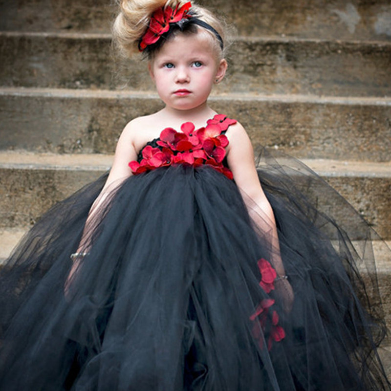 6b2d2e2c70d Detail Feedback Questions about Black and Red Flower Girl Tutu Dress with  Flower Headband Princess Children s Black Girls Wedding Party Dress Baby  Girl ...