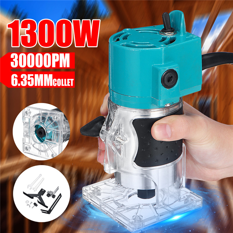 110V/220V 1300W 1/4 30000RPM Electric Hand Trimmer Wood Laminate Palms Router Joiners Power Tool Woodwork Carving Machine Trim