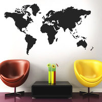 2.5mx1.4m Large Size Customized World Map Vinyl Home Decor Wall Sticker Living Room Wall Decals Bedroom Removable Mural