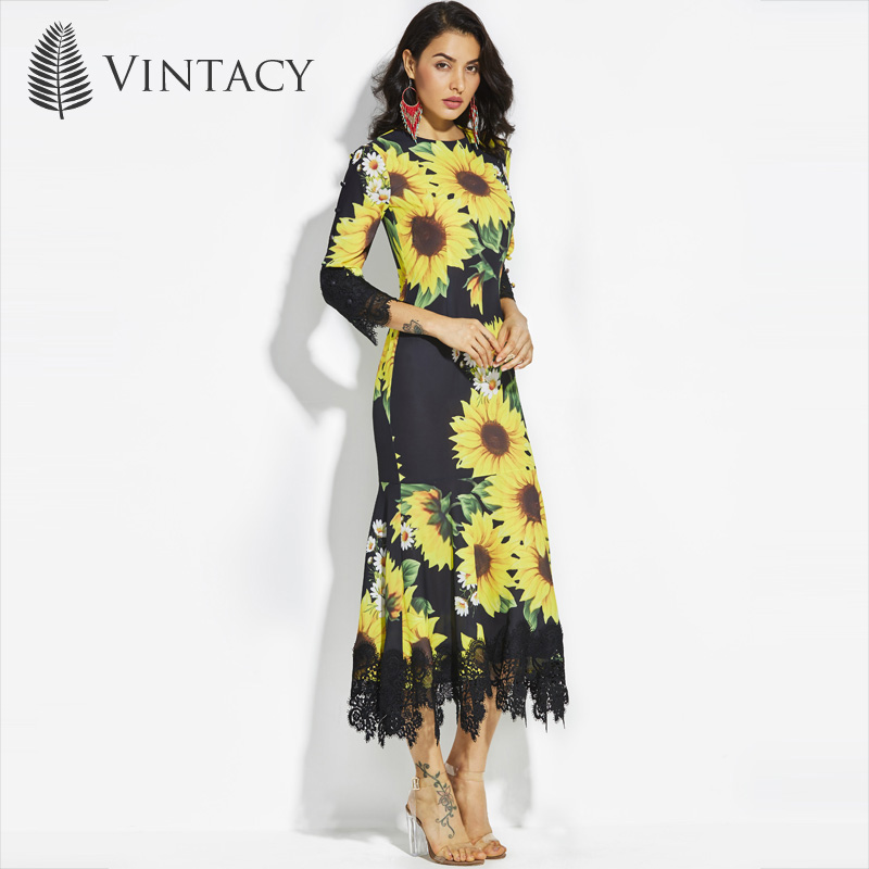 bfb6a9e08d6 Vintacy Women Black Long Mermaid Maxi Dress Lace Sunflower Summer Dresses  party Floral Long Sleeve Maxi Dress Spring Round Neck -in Dresses from  Women s ...