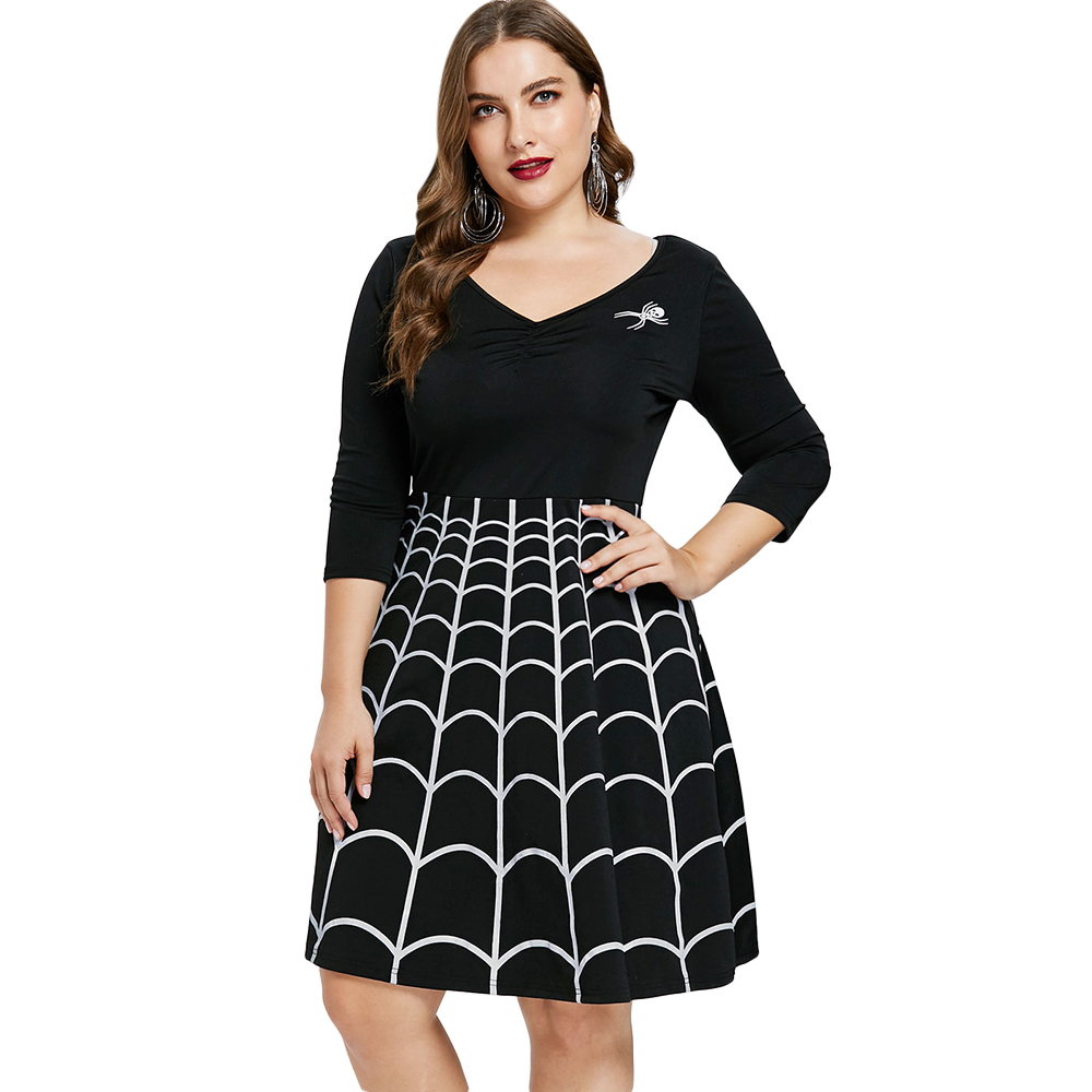 Wipalo 2018 Fall Plus Size Halloween Party Dress Women Spider Web V-Neck 3