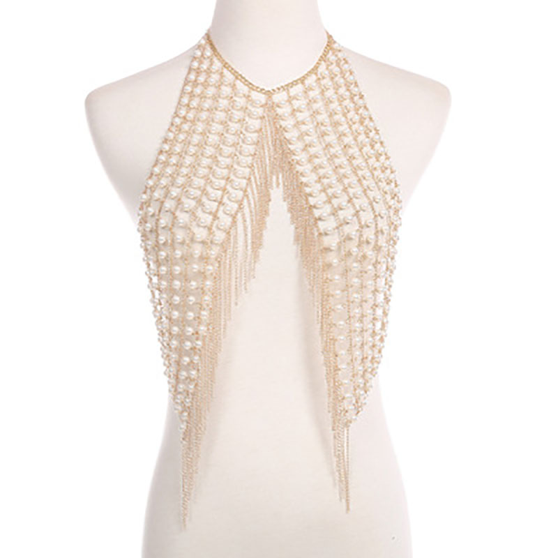 New fashionable and sexy nightclub handmade pearl fringed body Necklace in summer