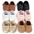 Infant Toddler Fringe PU Leather First Walkers Shoes Newborn Baby Girls Kids Boys Children Soft Soled Anti-Slip Loafers Shoes