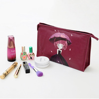 ZXG Cute Cartoon Girl Pu Leather Women S Cosmetic Bags With Mirror Portable Lady Toiletry Bag