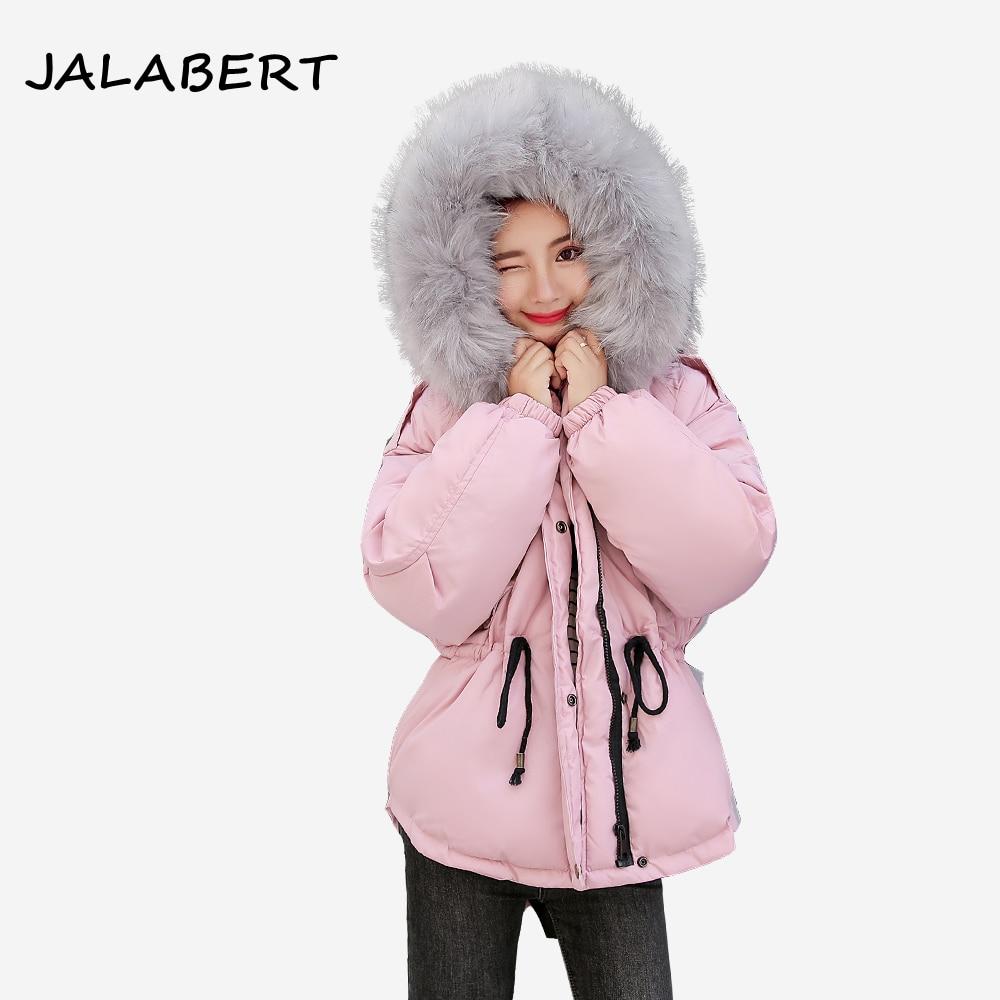 2018 New Faux fur collar short parkas down cotton jacket Winter Jacket Women thick Snow Wear