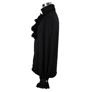 Image 5 - Steampunk Style Men Shirt Gothic Fashion Novelty Single Breasted Chiffon Long Sleeve Male Black Shirt