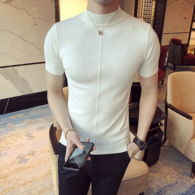 Image 3 - Casual Self cultivation High Lead Neck Knitting Men Sweater 2018 Autumn Leisure Long Sleeve Warm Solid Color Male Pullover M 3XL-in Pullovers from Men's Clothing