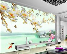 цена 3d customized wallpaper mural 3d wallpaper Magnolia background wall photo 3d wallpaper classic wallpaper for walls онлайн в 2017 году