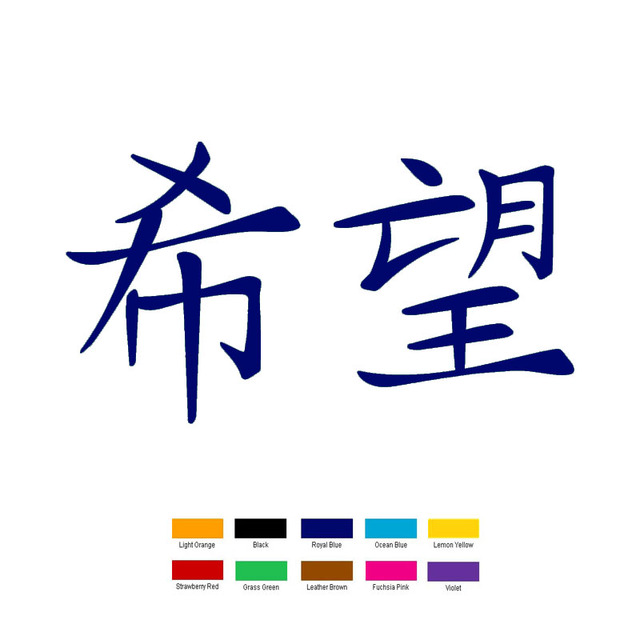 Wholesale 40 Pcslot 20cm X 10cm Hope Chinese Kanji Symbol Car