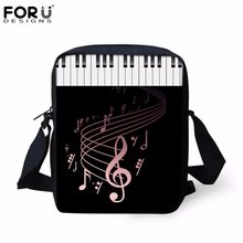FORUDESIGNS Piano Keyboard with Music Note Print Tote Shoulder Bags for Women Canvas Female Luxury Small Messenger Bags Handbags(China)