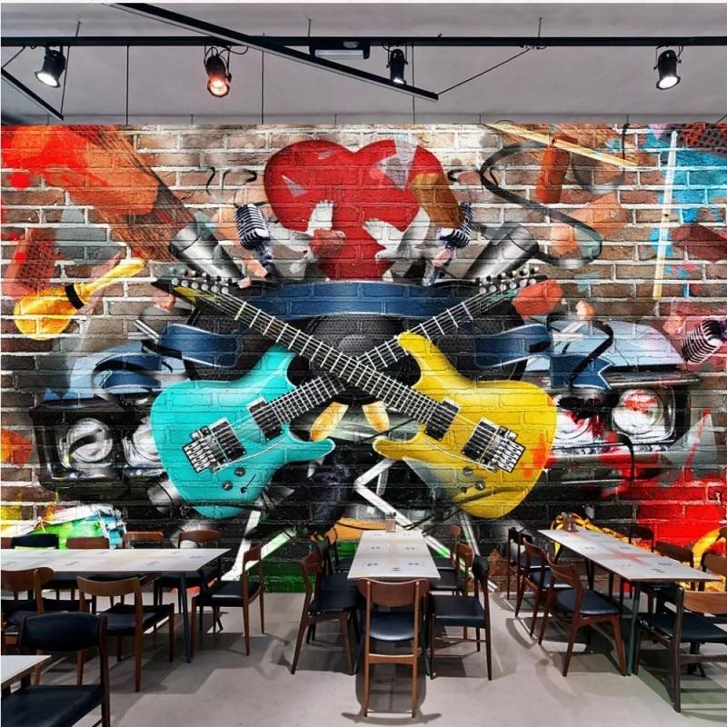 2019 Nieuwste Ontwerp Dropship Colomac Behang Graffiti Behang Nordic 3d Baksteen Muurschildering Gitaar Bar Ktv Achtergrond Papel Tapiz Para Pared Moderno Gemakkelijk Te Smeren