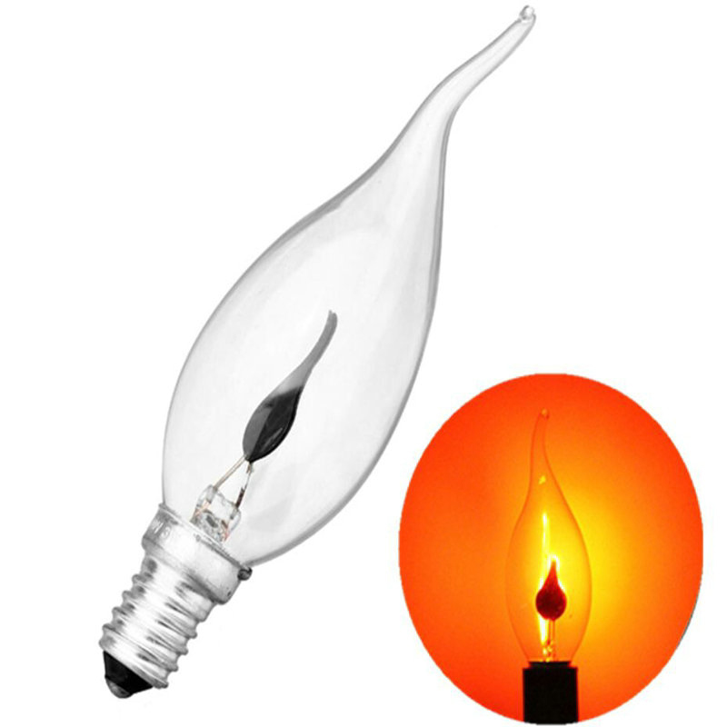 Incandescent Vintage Bulb 3W 220V Retro Edison Art Decoration Pull Tail E14 Edison Bulb Candle Flame Bubble Yellow Light