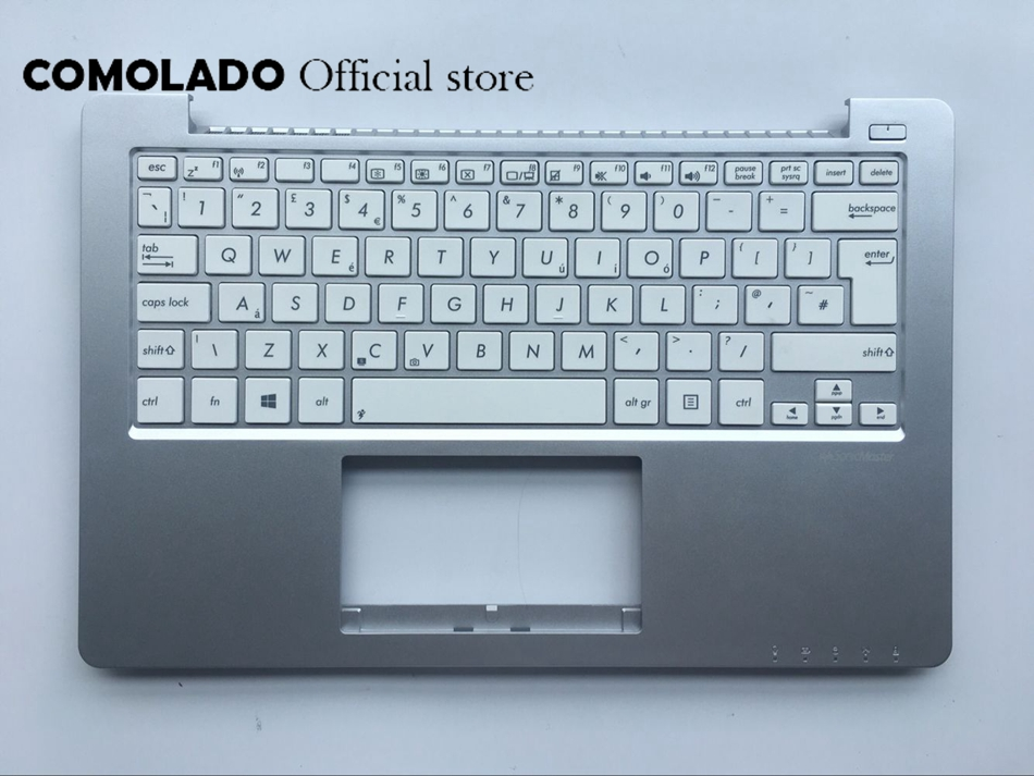 UK Keyboard For Asus X201 X201E White With Palmrest topcase C Cover Laptop Keyboard UK Layout
