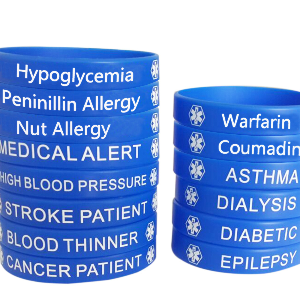 BRACELET HELP Wristbands Costume Jewellery Dialysis Patient MEDICAL ALERT SILICONE WRISTBAND