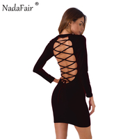 Nadafair O Neck Long Sleeve Backless Lace Up Sexy Bodycon Party Dress 2017 Autumn Winter Basic