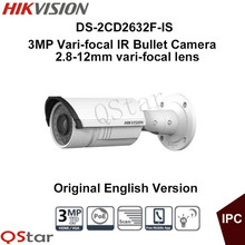 Hikvision Original English Security Camera DS-2CD2632F-IS 3MP Vari-focal IR Bullet IP Camera With Audio Alarm IP66 CCTV Camera