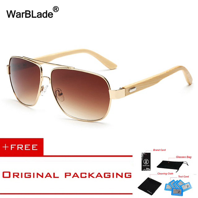 7db3901b1106 Vintage Pilot Wood Sunglasses Men Women UV400 Gradient Sun Glasses Driver  Sport Eyewear Original Bamboo Sunglass Male WarBLade