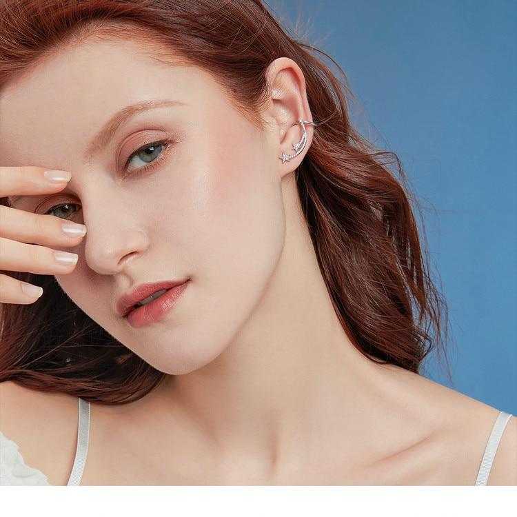 HTB1Pa84V7voK1RjSZFwq6AiCFXab BAMOER Star Comet Asymmetry Stud Earrings for Women Clear CZ Bright Meteor Ear Stud 925 Sterling Silver Jewelry Femme BSE087