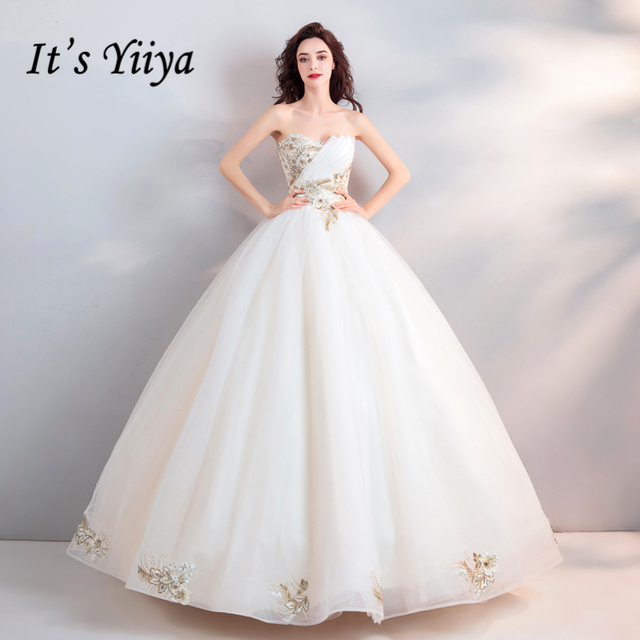 It\'s Yiiya Embroidery Wedding Dresses White Strapless Beading ...