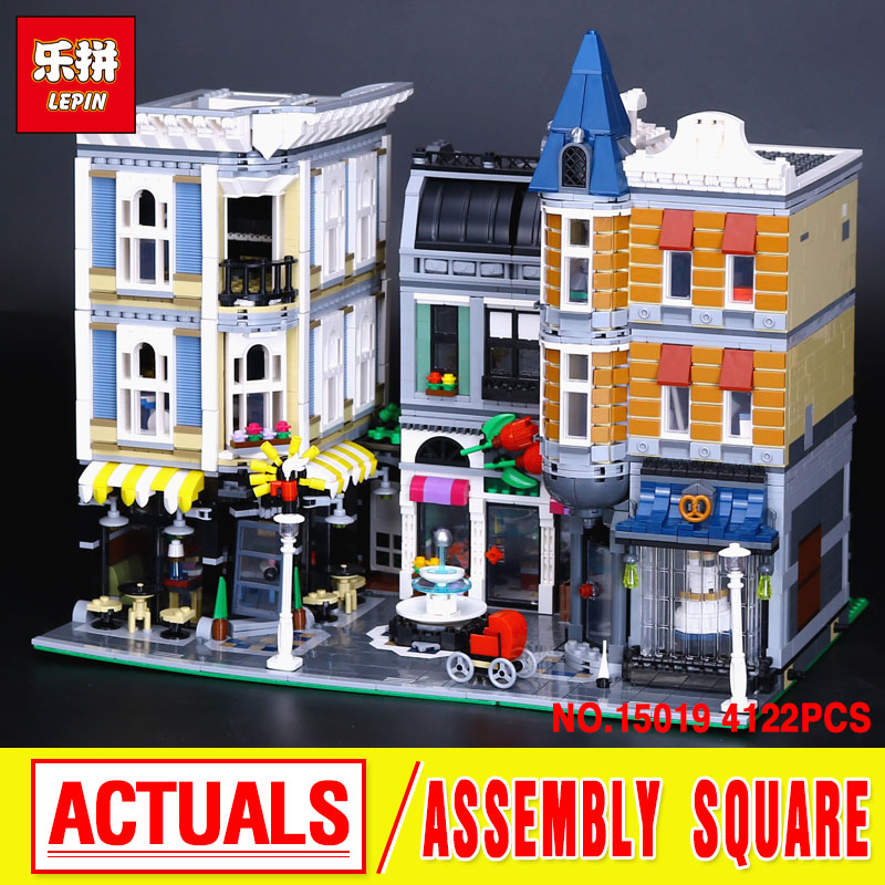 MOC LEPIN 15019 new 4122pcs Assembly Square City Model Building Kits blocks Bricks Toy boy gift Compatitive 10255
