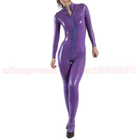 Purple Latex Women Bodysuit Rubber Catsuit With Socks Handmade S LC249