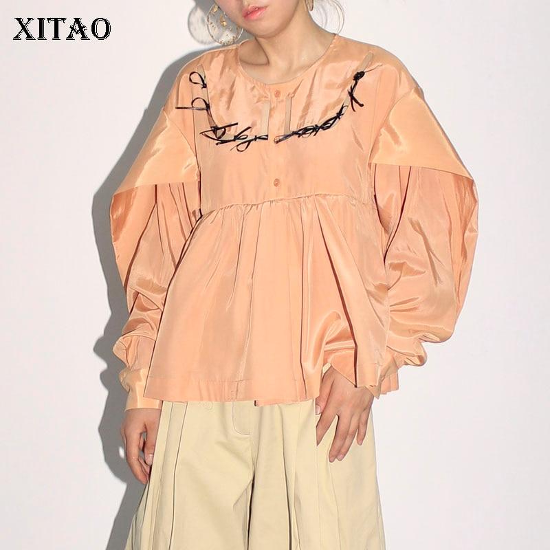XITAO automne Orange gris creux arc poupée chemises lâche grande taille Blouses femme 2019 mode grande taille O cou Top femmes WQR1218