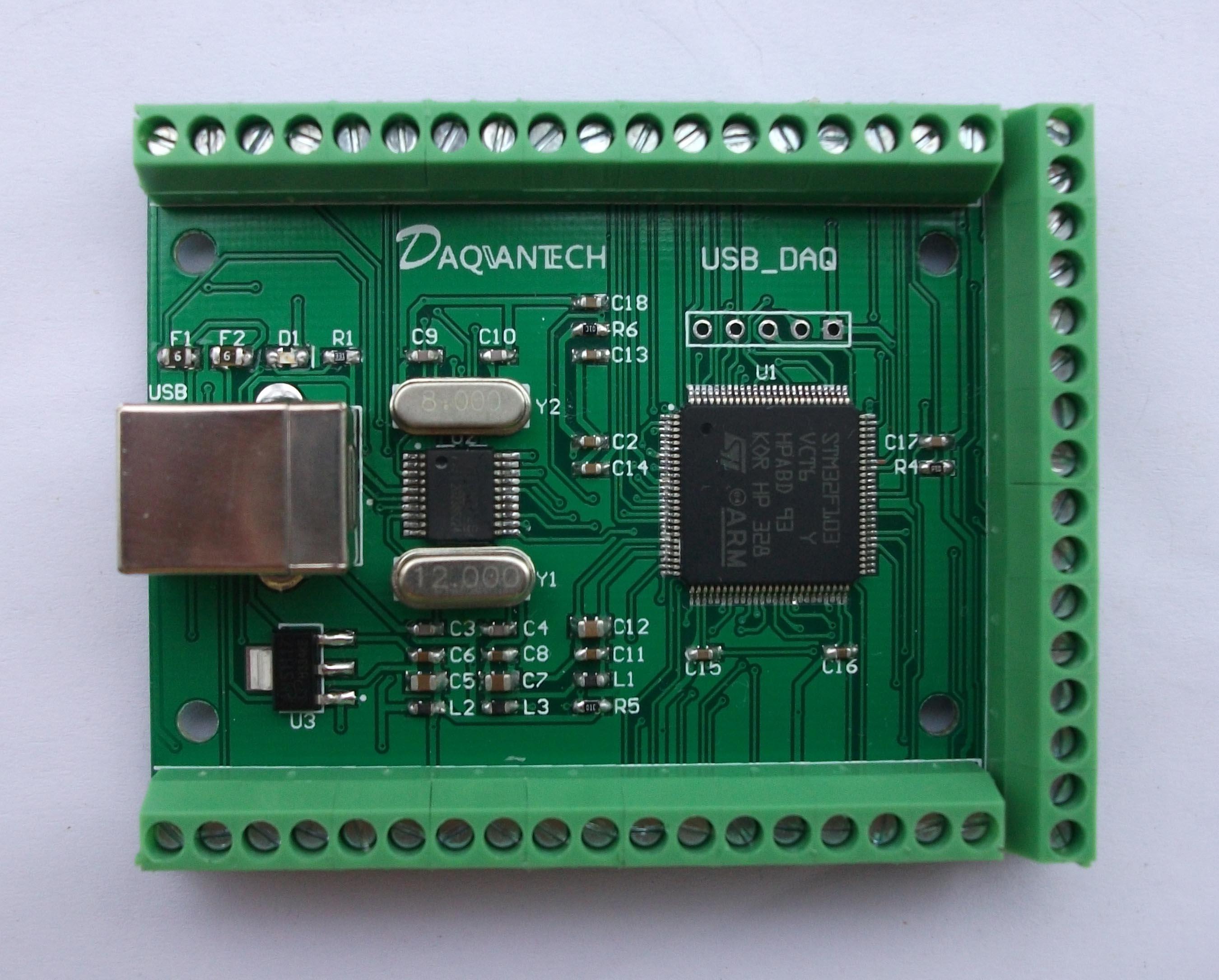 USB DAQ 12AD 2DA 8DI 8DO Data Acquisition Module Analog 3.3V Digital 2PWM Counter LabVIEW Matlab VC Codes Win10