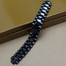 Hermosas pulseras de moda de Alta Calidad Correa De Reloj De Cerámica Negro relojes de diamantes 20mm lug 10mm accesorios especiales de los hombres