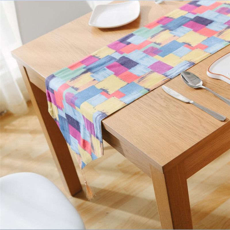 Dining Room Table Runner: Geometric Plaid Table Runner Color Graffiti Cotton Linen