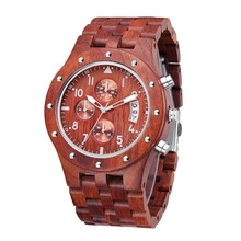 TJW 2018 Mens All-wood Multi-function Sports Watch Red Sandalwood