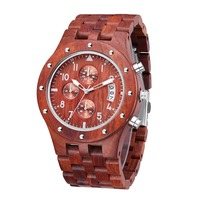 TJW 2018 Men's All wood Multi function Sports Watch Red Sandalwood Watch Sports Watch