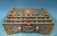 xd 003372 6 Tibet Silver handwork 24K Gold inlay Ruby turquoise gemstone coral jewelry Box
