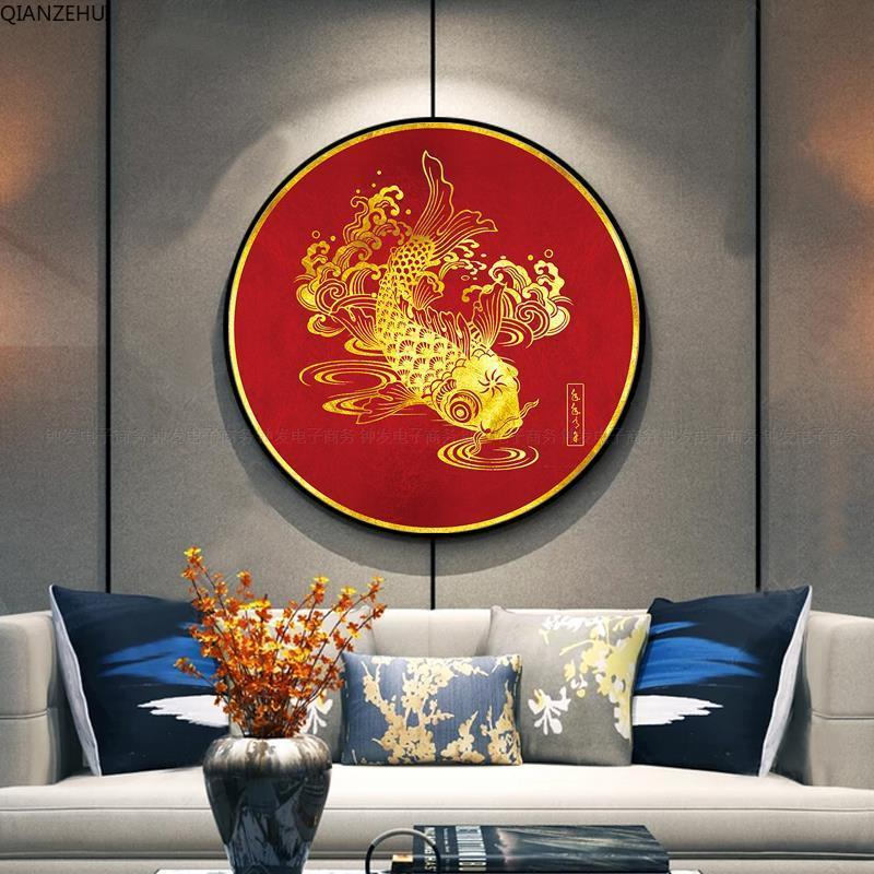 QIANZEHUI Needlework,DIY Printed  Fish Cross Stitch,Sets For Embroidery Kit Full Embroidery Cross-Stitching Wall Home Decro