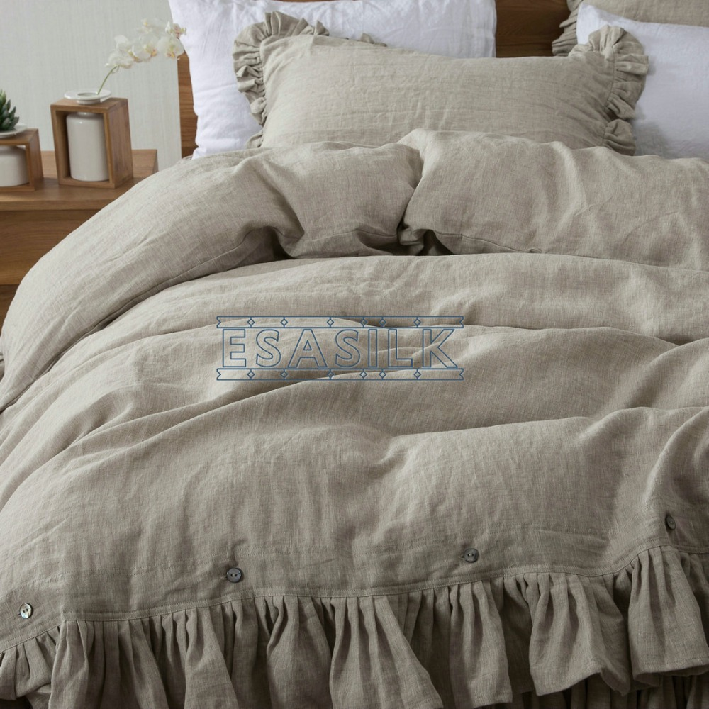 Flax Classical Ruffled 100% French Linen Duvet Cover Sets Linen Bed Sets  3pcs/lot Linen Quilt Cover  In Duvet Cover From Home U0026 Garden On  Aliexpress.com ...
