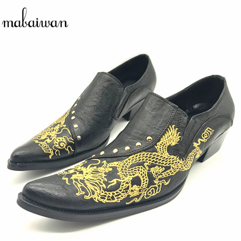 2017 Dragon Embroidered Men Real Leather Shoes Pointed Toe Zapatos Hombre Rivet Wedding Dress Party Shoe Slip On Men Creepers new brush oxford shoes for men slip on pointed toe fringe oxfords men shoes leather causal formal men dress shoes zapatos hombre
