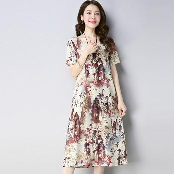 22ffe3ab3 2019 verano Vintage vestido de las mujeres Mori niña suelta cuello redondo  de tinta de impresión de algodón de manga larga vestido de lino
