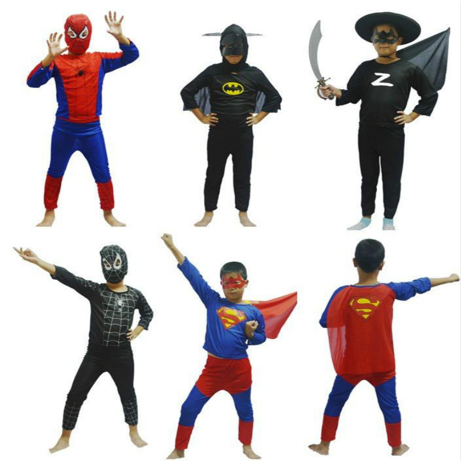 Hot Sale Halloween Boys Super Hero Captain Spiderman Batman Superman Zorro Costumes Cosplay For Kids Children Boy fantasias