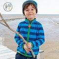 2017 de Primavera y Otoño hoodies de Los bebés de Los Niños Niños Niño niña de la raya de lana chaquetas y abrigos niños niños sudadera