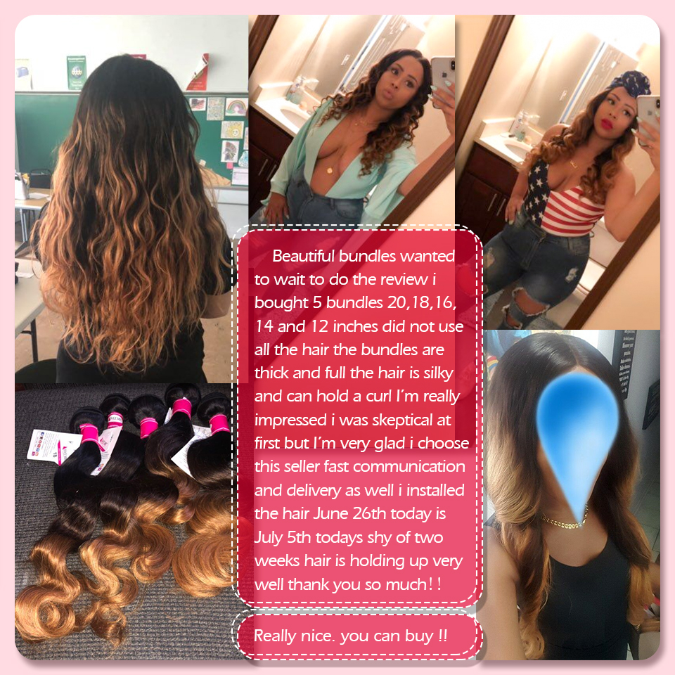Ombre Body Wave Human Hair Bundle Med Lace Closure Blonde Brazilian - Menneskehår (sort) - Foto 6