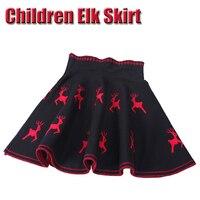 Fall Winter Christmas Elk Pattern Pleated Skirt Girls Princess Skirts Tutu Girl Colored Spun Yarn Knitting