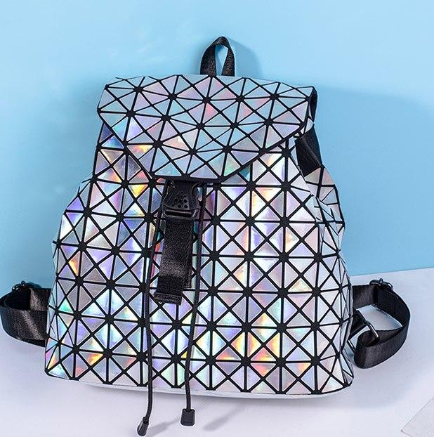 Trendy Geometric Mirror School Bag Diamond Lattice Bucket String Bagpack Sequins luminous Bag