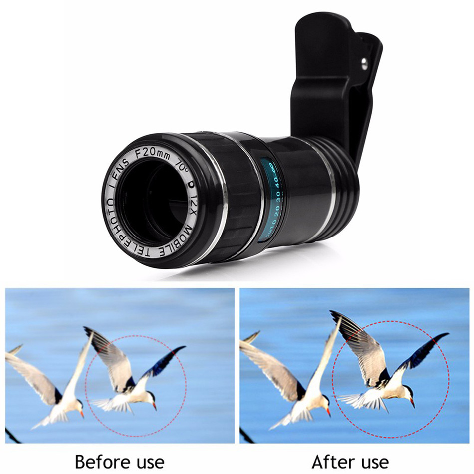 With Clips Phone Lens 12X Optical Zoom Lenses Mobile Phone Telescope Telephoto Lens For iPhone 5 6 6s 7 Plus Xiaomi redmi note 3