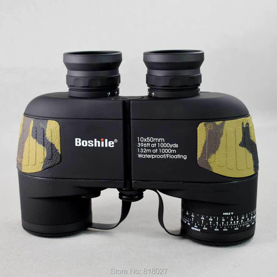Militar Boshile 10X50 binóculos Telescópio HD profissional à prova d 'água BAK4 prismaticos Rangefinder Distância caça 2 cores