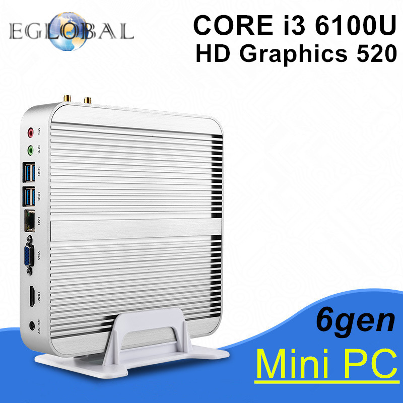 Eglobal Intel Skylake Fanless Mini PC Win10 Barebone I3 6100U Intel Nuc HD Graphics 520 4K HDMI VGA USB Desktop Computer