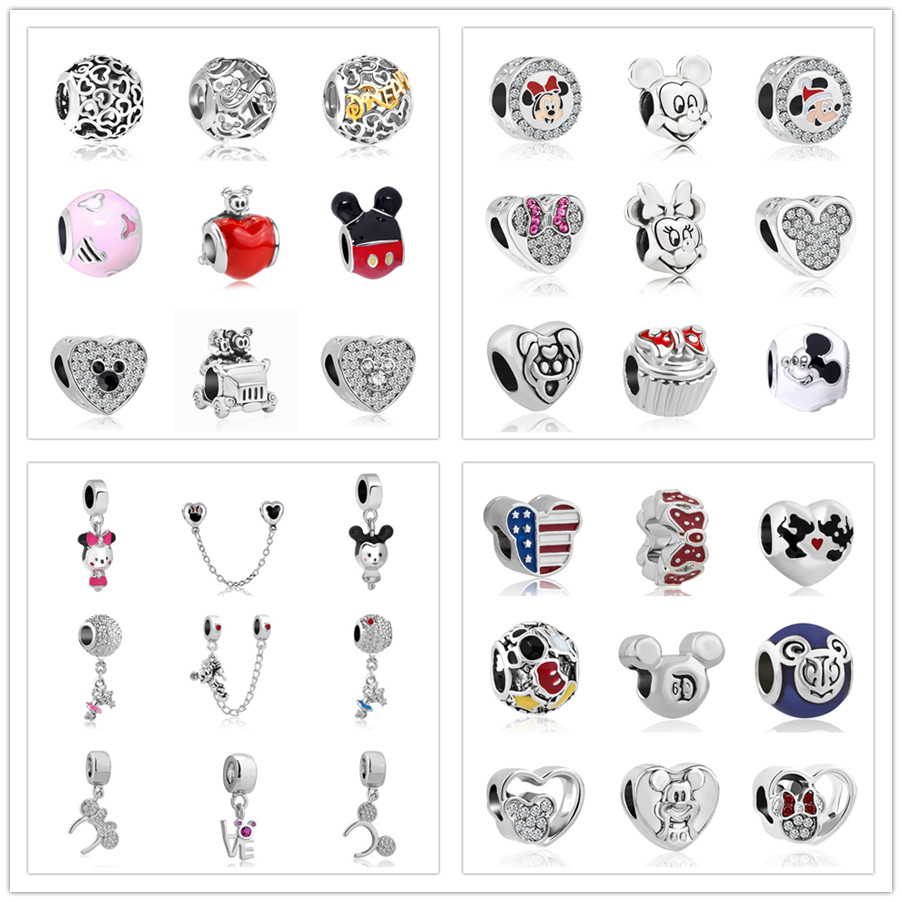 1pc European Mickey Minnie Diy Bead Fit Original Pandora Charms  Bracelet Trinket Jewelry For Women S006(China)