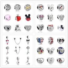 1 шт., Европейский самодельный браслет с Микки и Минни Маус, очаровательный браслет Pandora, ювелирные изделия для женщин S006